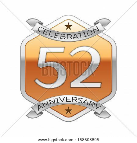Fifty two years anniversary celebration silver logo with silver ribbon and golden hexagonal ornament on white background.