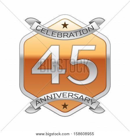 Forty five years anniversary celebration silver logo with silver ribbon and golden hexagonal ornament on white background.