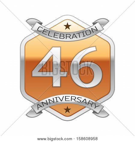 Forty six years anniversary celebration silver logo with silver ribbon and golden hexagonal ornament on white background.