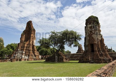 Detail of Wat Mahathat Temple of the Great Relic a Buddhist temple in Ayutthaya central Thailand