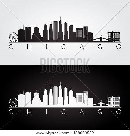 Chicago USA skyline and landmarks silhouette black and white design vector illustration.