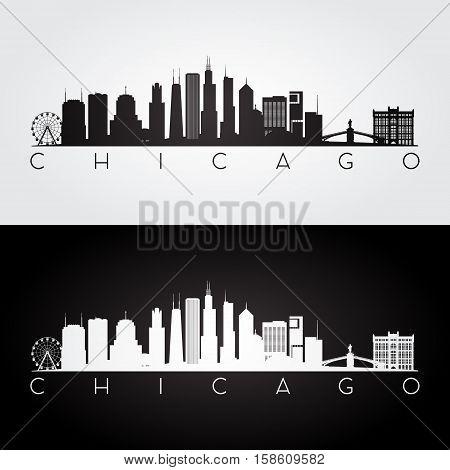 Chicago USA skyline and landmarks silhouette black and white design vector illustration.