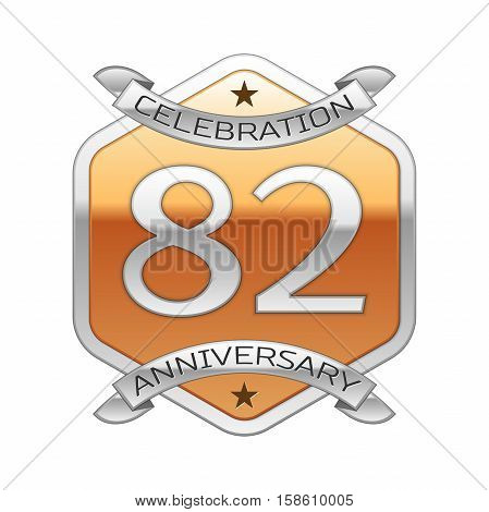 Eighty two years anniversary celebration silver logo with silver ribbon and golden hexagonal ornament on white background.