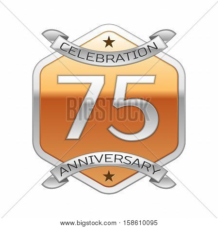 Seventy five years anniversary celebration silver logo with silver ribbon and golden hexagonal ornament on white background.