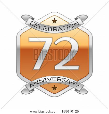 Seventy two years anniversary celebration silver logo with silver ribbon and golden hexagonal ornament on white background.