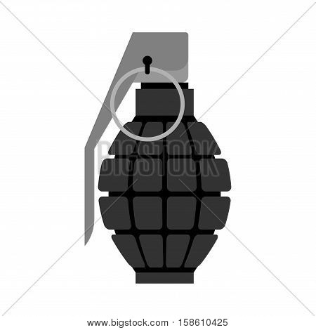 Military Grenade Black . Army Explosives. Soldiery Ammunition. Explosive Bombshell
