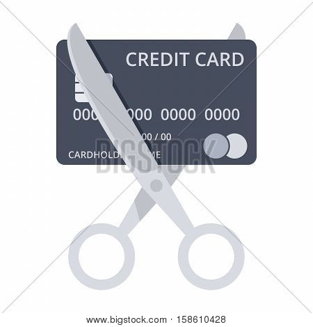 Debt free concept with scissors and black credit card