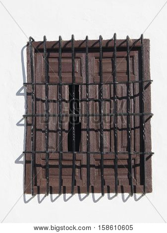 Wrought Iron Grill or bars on Window in village in Andalucia