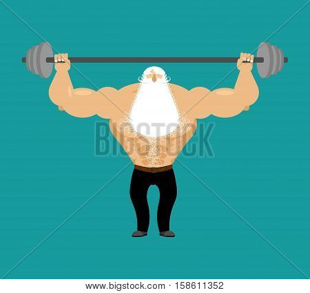 Senior Man Athlete And Barbell. Strong Grandfather Fitness. Old Man Sports. Powerful Greybeard With