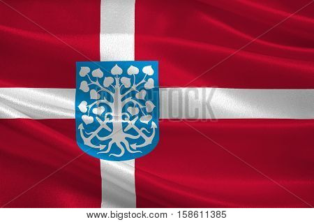 Flag of Esbjerg in Southern Denmark Region. 3d illustration