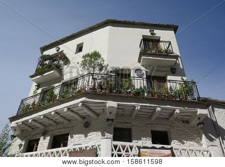 A traditional house in the high altitude village of Pampaneira in the Alpujarra mountain range of Andalucia in Southern Spain