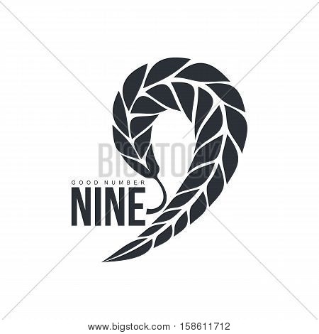 Black and white number nine logo template formed by wheat ear, vector illustration isolated on white background. Black and white number nine graphic logotype for farm, organic products