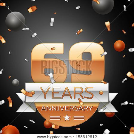 Sixty nine years anniversary celebration background with silver ribbon confetti and circles. Anniversary ribbon. Vector illustration.