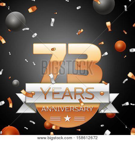 Seventy three years anniversary celebration background with silver ribbon confetti and circles. Anniversary ribbon. Vector illustration.