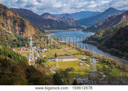 Tagokura Lake at Fukushima in Japan Atumn Season