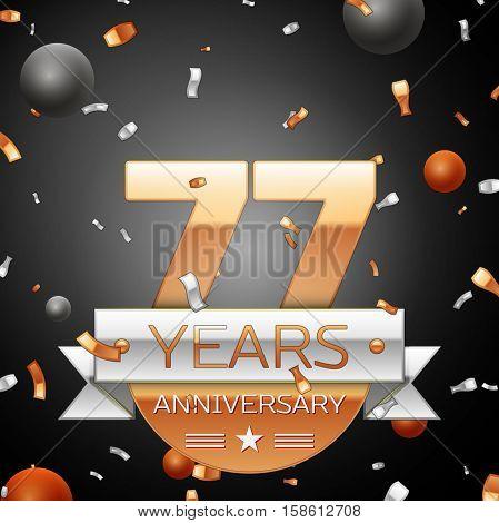 Seventy seven years anniversary celebration background with silver ribbon confetti and circles. Anniversary ribbon. Vector illustration.