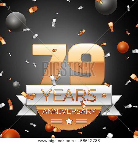 Seventy nine years anniversary celebration background with silver ribbon confetti and circles. Anniversary ribbon. Vector illustration.