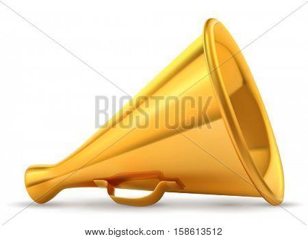 Golden retro loudspeaker isolated on white background vector illustration.