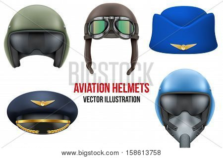 Set of Aviator Helmets and hats. Headgear for aviation professional workers. Vector Illustration Isolated on white background poster