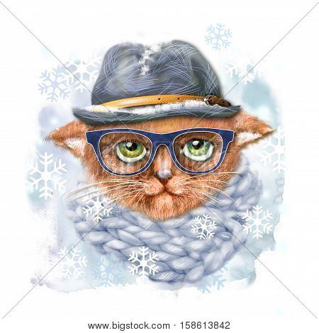 Hand drawn portrait of Cat with glasses hat and scarf. Fashion portrait of hipster cat. Hand drawn illustration for greeting card poster or print on clothes. T-shirt print cat isolated cat.