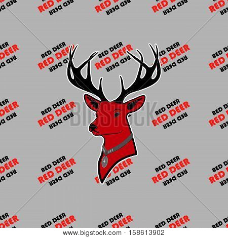 head of red deer with antlers. seamless texture. pattern and silhouette. For all who love wildlife. isolate