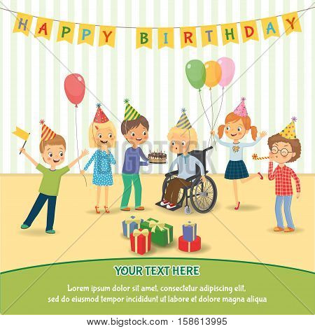 Group of happy children congratulates disabled child on his birthday. Disabled child in a wheelchair blowing on candles on birthday cake after making his wish at party. Vector illustration