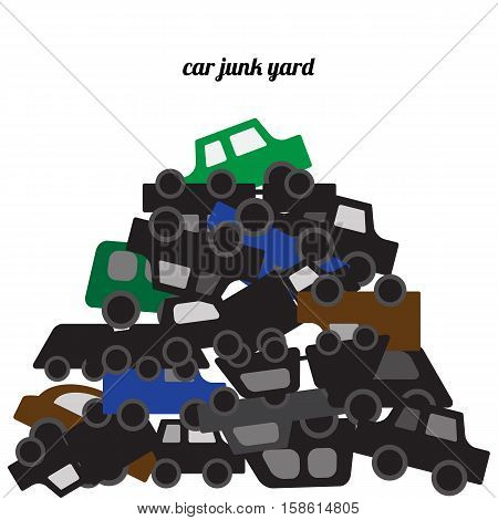 Car bodies stacked at the junkyard illustration