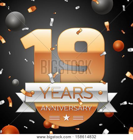 Nineteen years anniversary celebration background with silver ribbon confetti and circles. Anniversary ribbon. Vector illustration.