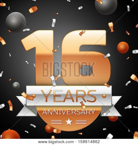 Sixteen years anniversary celebration background with silver ribbon confetti and circles. Anniversary ribbon. Vector illustration.