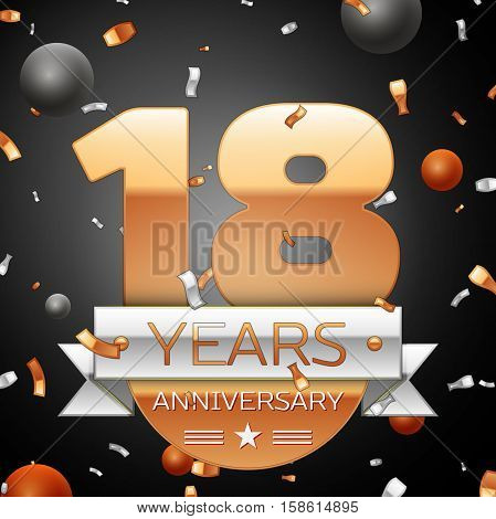 Eighteen years anniversary celebration background with silver ribbon confetti and circles. Anniversary ribbon. Vector illustration.
