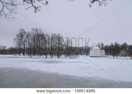 Pavilion Turkish bath in Catherine Park snowy day in November
