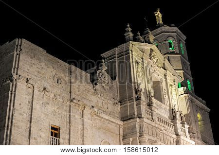 Cathedral of Valladolid in the night Spain