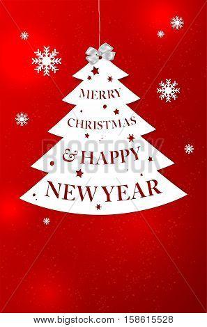 Abstract Christmas Tree With Merry Christmas Wish