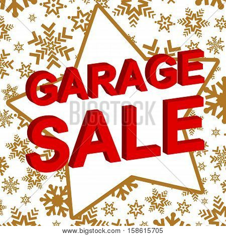 Winter sale poster with GARAGE SALE text. Advertising vector banner template