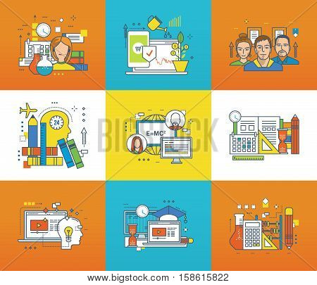 Modern technology, technical support and consultancy, investments, working in team, education, science, creativity, management and control icons set. Flat line icons for infographics design elements.