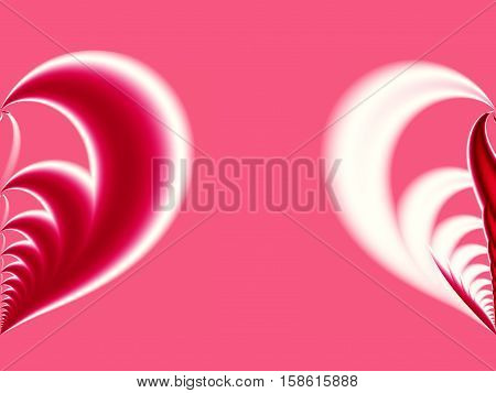 Pink red and white Valentine fractal with a big split heart on opposite sides. For creative Valentine or wedding designs as a conceptual illustration for relationship PC or mobile phone background
