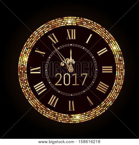Vector 2017 Shiny New Year Clock In Gold Disco Circle Frame. Vintage Elegant Luxury Gold Clock Midni