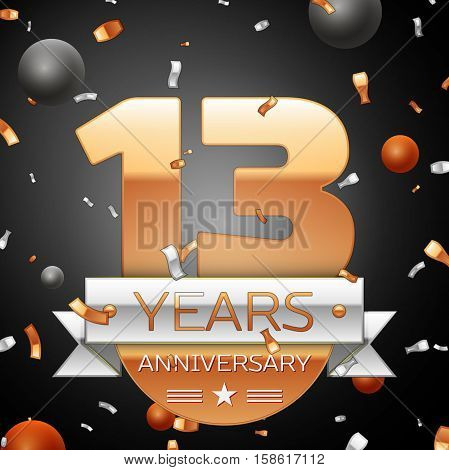 Thirteen years anniversary celebration background with silver ribbon confetti and circles. Anniversary ribbon. Vector illustration.
