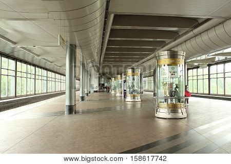 Russia, Moscow 23 May 2016, Moscow's Metropolitan. Entrance Hall of station Sparrow Hills