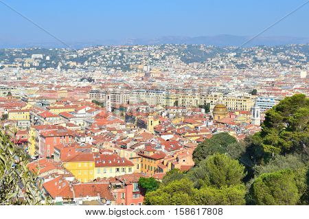 Nice France. View of the Old Town in a sunny summer day