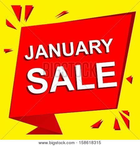 Sale poster with JANUARY SALE text. Advertising  and red vector banner template