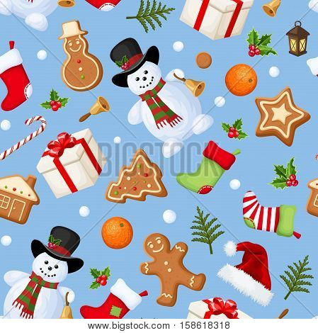 Vector Christmas seamless background with snowmen, stockings, Santa hats, holly, boxes, cookies, oranges, snowballs, candy canes and fir branches on blue.