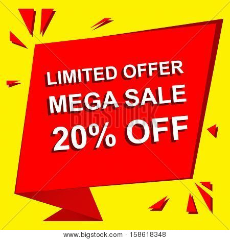 Sale poster with LIMITED OFFER MEGA SALE 20 PERCENT OFF text. Advertising  and red vector banner template