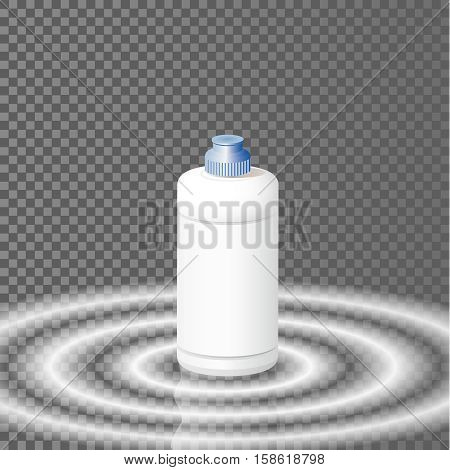 White plastic bottle template for dishwashing liquid, cleaning agent, laundry detergent or bleach. Vector illustration.