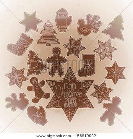 Huge collection of graphic Christmas gingerbread drawn in line art style. Vector design elements isolated on the vintage background in ocher colors.