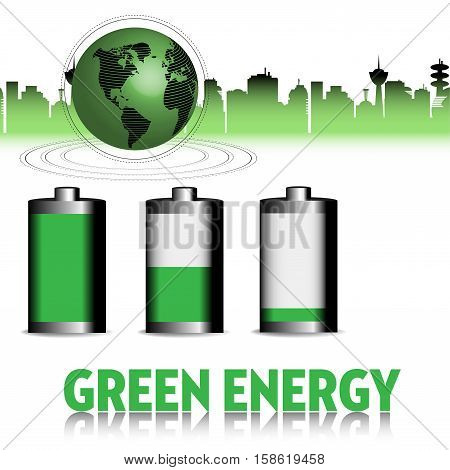 Abstract colorful background with cityscape, green globe and three batteries colored in green. Green energy concept