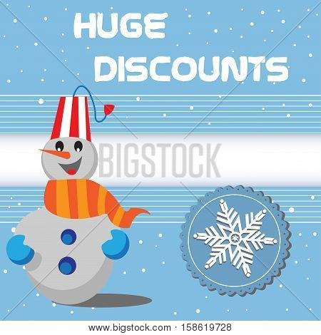 Abstract colorful illustration with snowflake symbol, happy snowman and the text huge discounts written in white