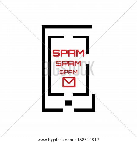 Spam Concept with Mail and Smartphone Icon Isolated on White. Telephone Spamming Vector Symbol