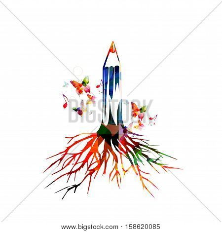 Colorful pencil tree vector illustration with butterflies. Design for creative writing, news, storytelling, blogging, education, book cover, article and website content writing, copywriting, workshops