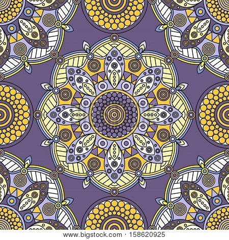 Seamless oriental medallion pattern in grayish purple, pale lavender & golden yellow.